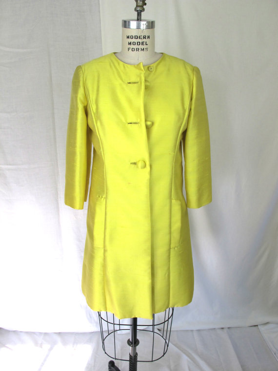 60's chartreuse Shantung evening coat, $95USD at Tovas Vintage