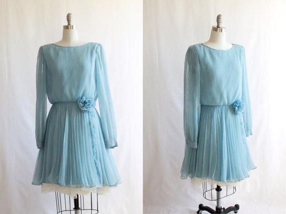 Vintage 60's chiffon blue dress, $32 at Liya