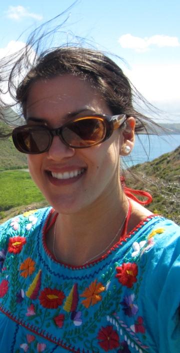 Jordana in St. Kitt's wearing a vintage Mexican tunic