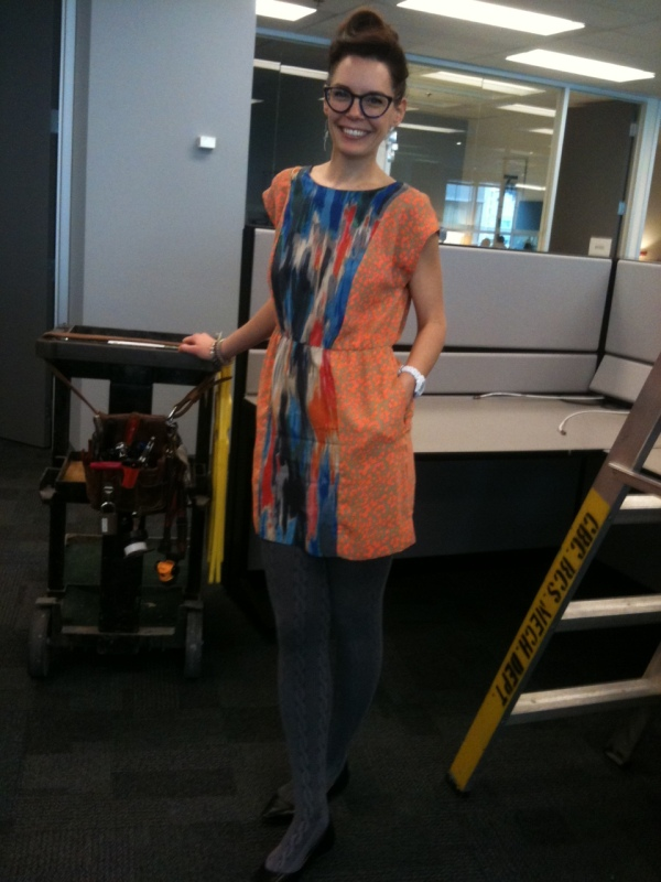 There is never, ever a dull moment at the CBC: this past week our newly-renovated floor experienced (gasp-!) a leak in the ceiling, hence the ladder (CBC! a CBC ladder- not to be confused with anyone else's ladder around here) and full-on tools cart. I thought this would make a fine backdrop to my office outfit feature, no?