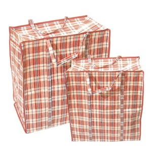 nylon plaid shopping bag