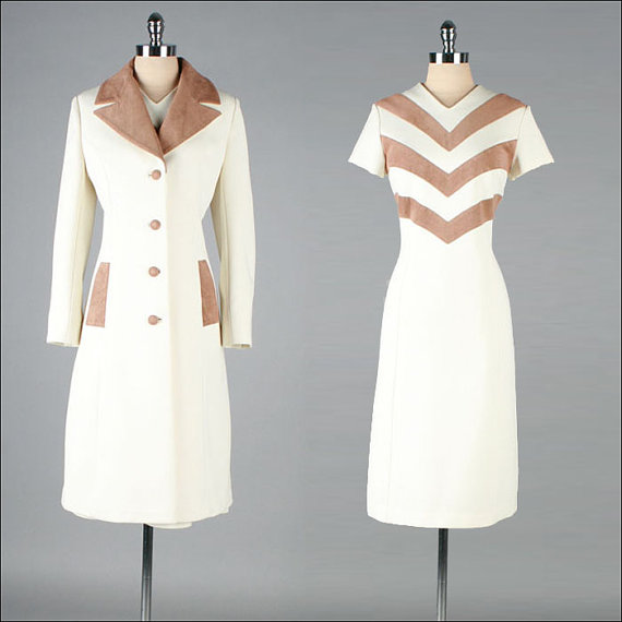 Vintage 1960's dress and jacket  2 piece set  in ivory with ultra suede chevron, $245 at Mill Street Vintage