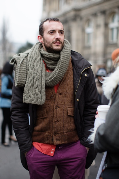 Menswear: Eggplant coloured pants will take men into fall. Via The Sartorialist.