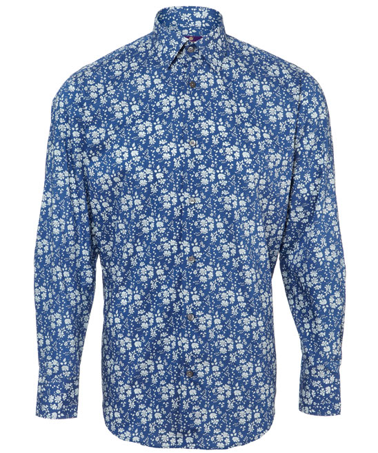 Blue capel men's cotton shirt, 130GBP by Liberty London