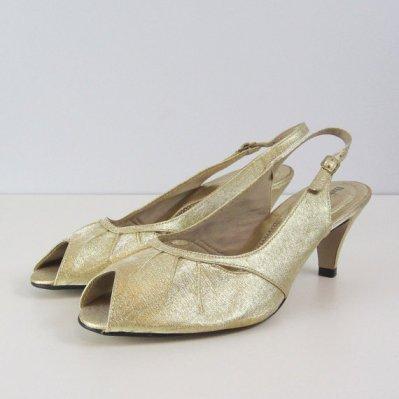 Vintage gold '70s heels, size 8, $32 at Archetype Vintage