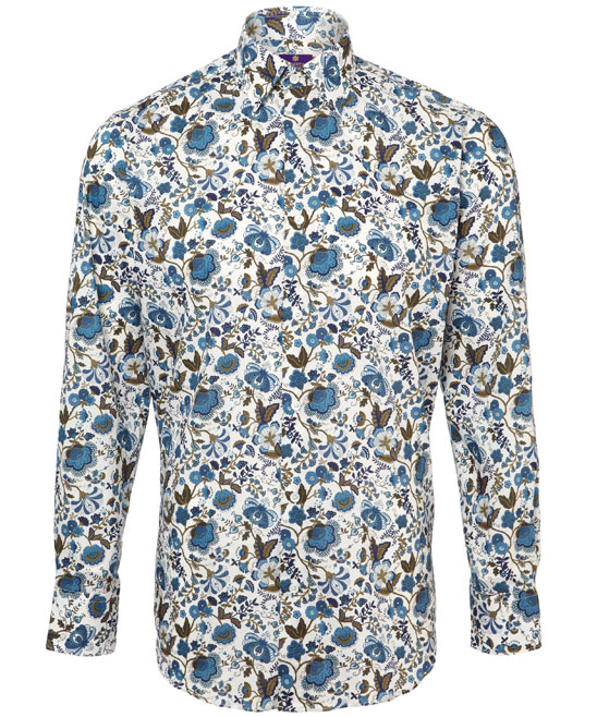 The Liberty London blue mabelle men's shirt: on-trend and downright fun