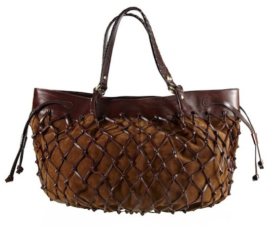 Netted leather tote,