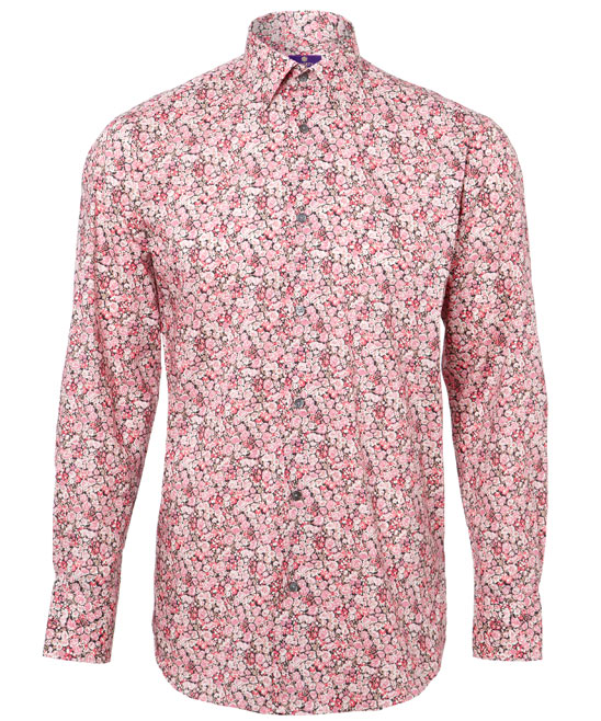 Pink chive cotton flower print Liberty London men's shirt, 130GBP