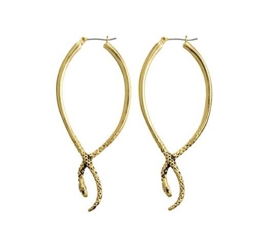 Serpent hoop earrings, $55