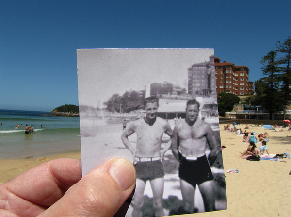 Manly beach, photographed today (13 December 2010) and around 1940. The right hand figure in the small picture is my father, who would have been in his late twenties at the time.""
