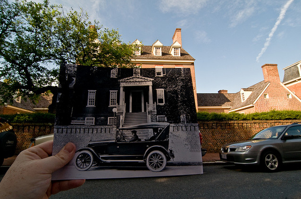 This is now the Paca House & Garden. The length of the old car vs. the length of the SUV behind this shot is pretty telling. Cars back then were SMALL. Original image taken in 1920, courtesy of the Library of Congress.