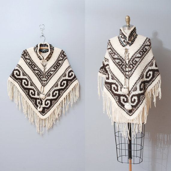 Vintage '70s cream fringed poncho, $21 on sale at Old Faithful Vintage