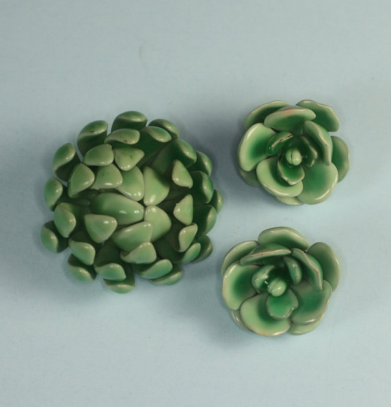 Green vintage floral brooch and clip earrings, $23 at Past Splendors