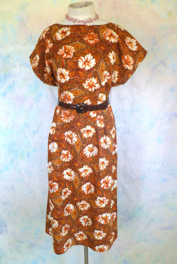 Vintage 1940's cotton Hawaiian tropical dress, $36.40 on sale at Li