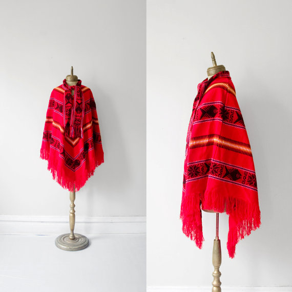 Red vintage Ecuador poncho, $47 at Miso Vintage