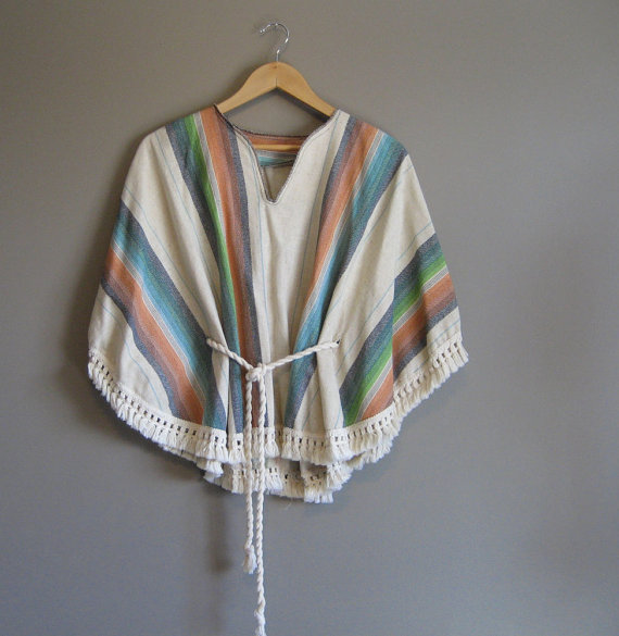 Striped vintage poncho with cinching waist, $54 at