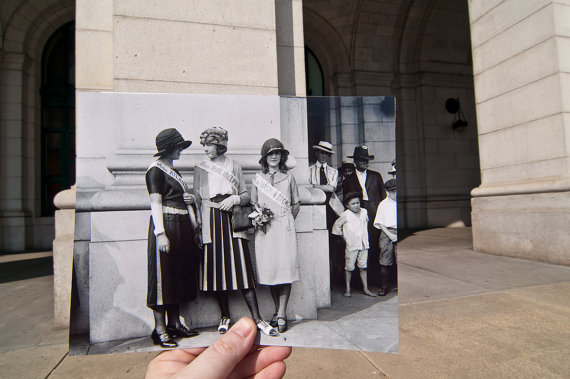 Miss Atlantic City, Miss Philadelphia and Miss Washington, DC (Margaret Gorman - the first Miss America) gather in front of Union Station in Washington, DC. Original photo taken in 1921.