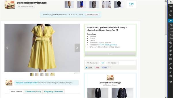 The description: vintage 80s deadstock yellow midi sun dress with wrap-style deep v pleated bodice. matching belt. full skirt. pockets at waist. (050d) fabric: rayon, acetate condition: excellent size: tag 10, fits like a medium - large (please check measurements for accuracy) (not pinned)