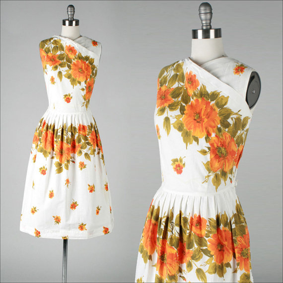 Fantastic orange water-colour style print cotton sundress, $144 at Mill Street Vintage on Etsy
