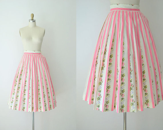 Vintage 1950s pink striped skirt with flowers, $69 at Female Hysteria